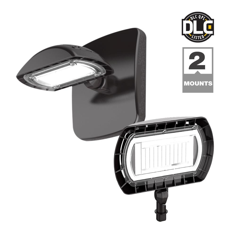 Dark Bronze Outdoor Integrated LED Flood Light with Wall Pack Mount