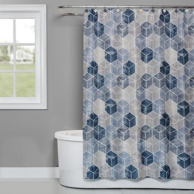 Cubes 72 in. Shower Curtain in Blue
