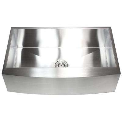 Farmhouse Curve Apron-Front 36 in. x 21 in. x 10 in. Stainless Steel 16-Gauge Single Bowl Zero Radius Kitchen Sink