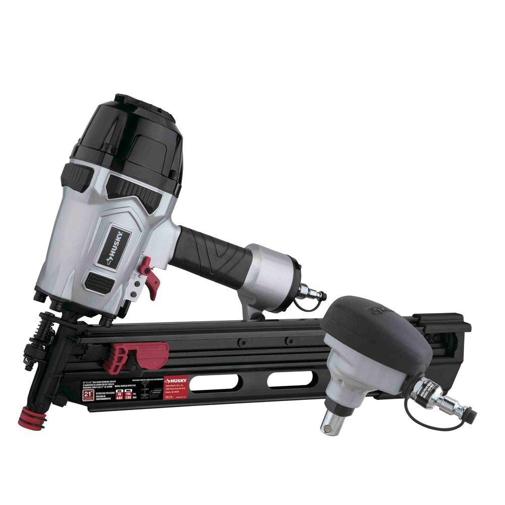 Husky Pneumatic 21-Degree Framing and Mini Palm Nailer Kit-DPFRPNCB ...