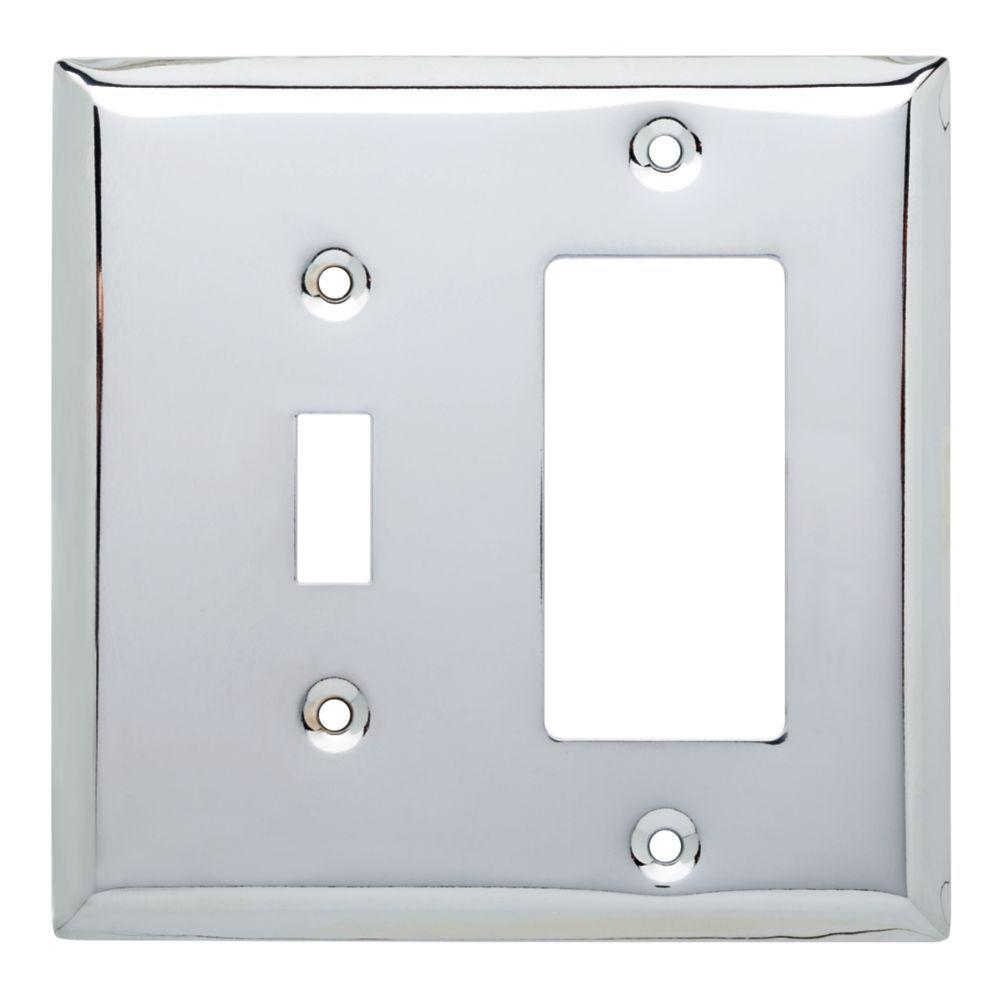 Hampton Bay Stamped Square Decorative Switch And Rocker Plate Polished Chrome