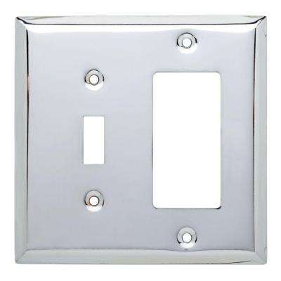 Stamped Square Decorative Switch and Rocker Switch Plate, Polished Chrome