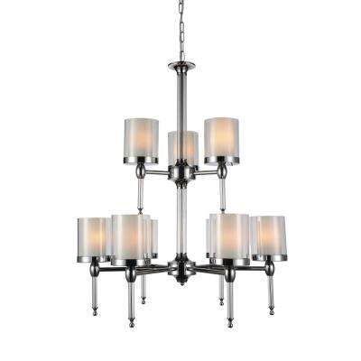 Maybelle  9-Light Chrome Chandelier with Clear shade