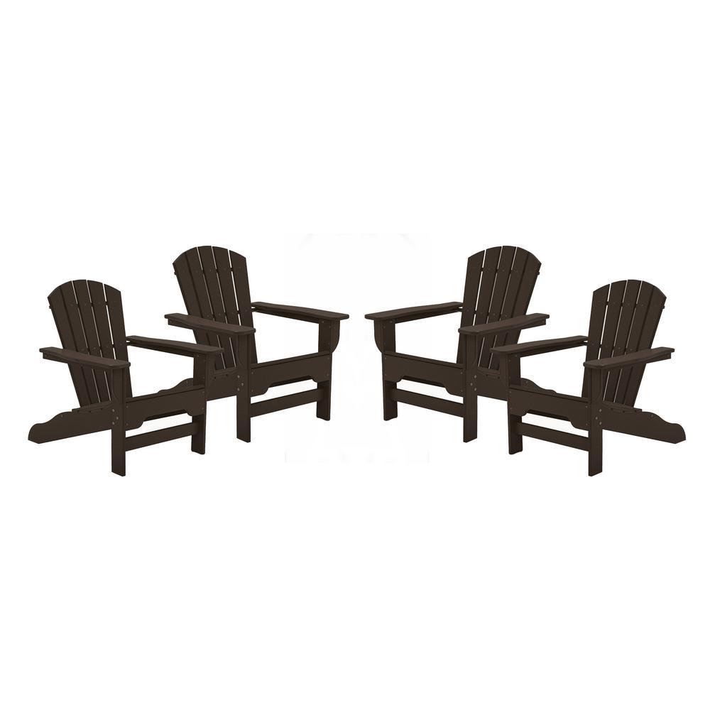 Boca Raton Chocolate Recycled Plastic Curveback Adirondack Chair (4-Pack)