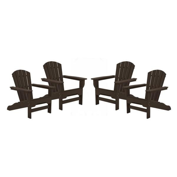 Boca Raton Chocolate Recycled Plastic Curveback Adirondack Chair (4-Pack)