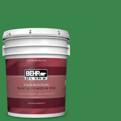 5 gal. #450B-7 Green Grass Matte Interior Paint and Primer in One