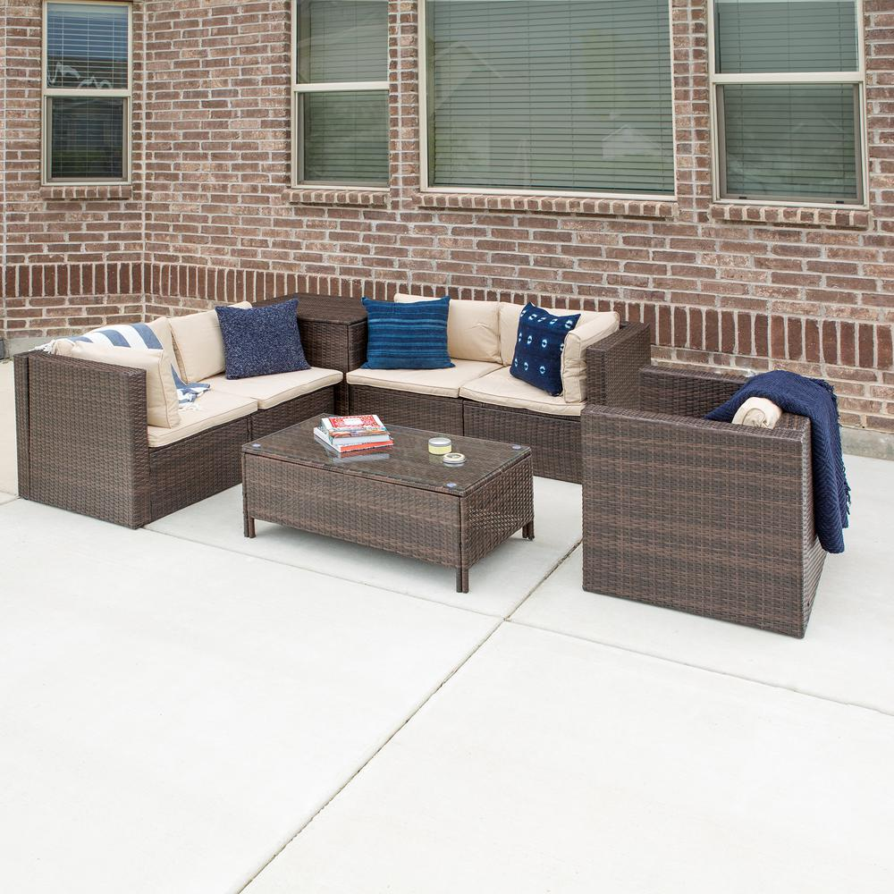 Walker Edison Furniture Company Brown 7 Piece Wicker Patio Conversation Set With White Cushions