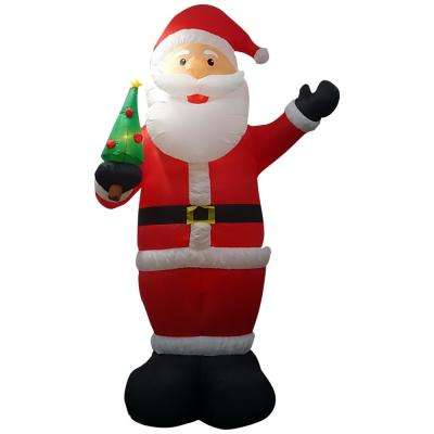 12 ft. Pre-lit Inflatable Santa Holding Tree Airblown