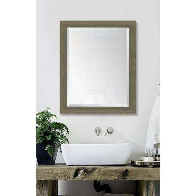 27 in. x 33 in. Framed Farmhouse Brown Large Mirror