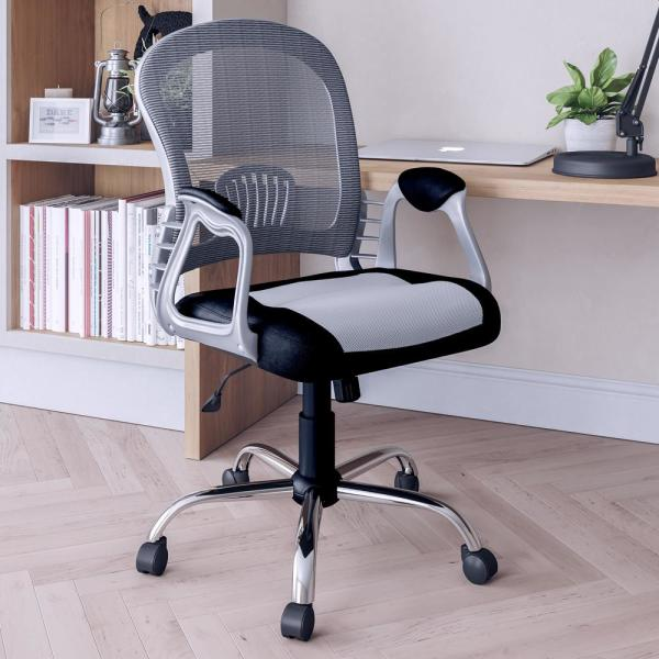 CorLiving Workspace Black Leatherette and Grey Mesh Office Chair LOF-238-O
