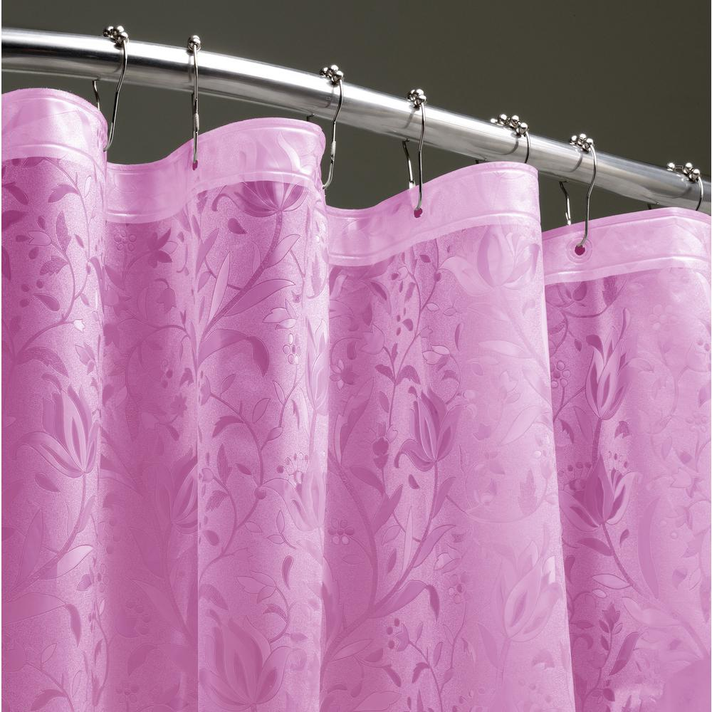 Dainty Home Floral 72 In Pink 3D Shower Curtain FL3DPI