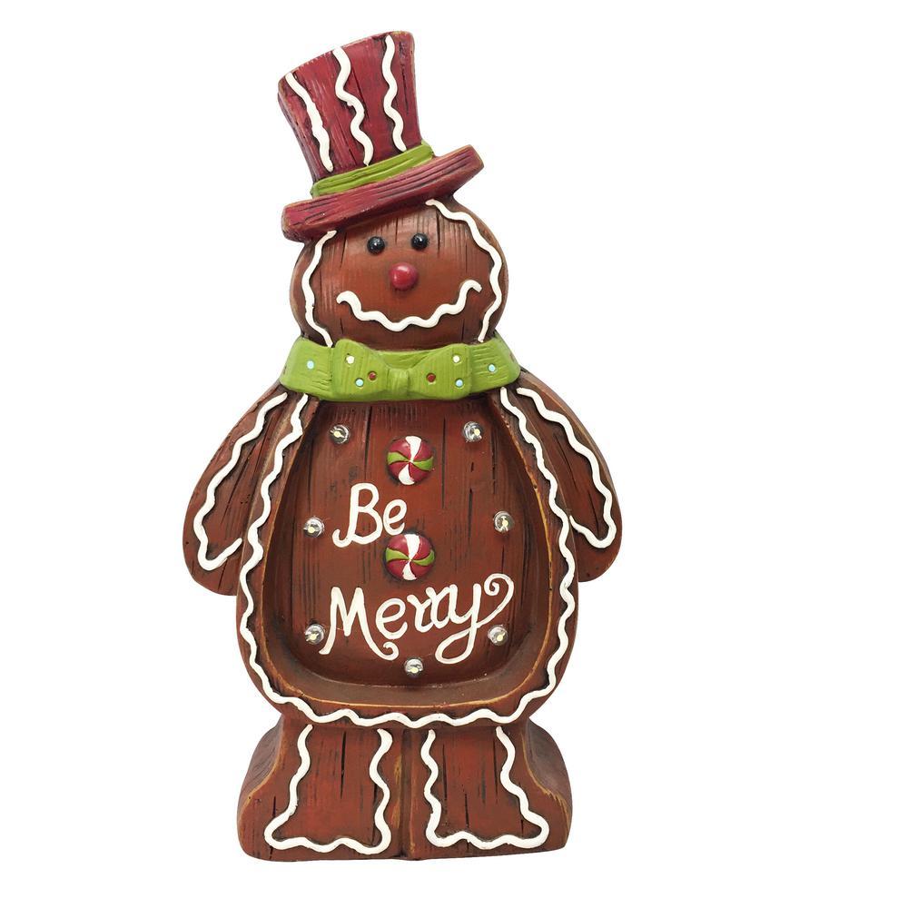 Christmas Statue Decorations: Alpine Christmas Gingerbread Man Light Up Statue Decor- TM