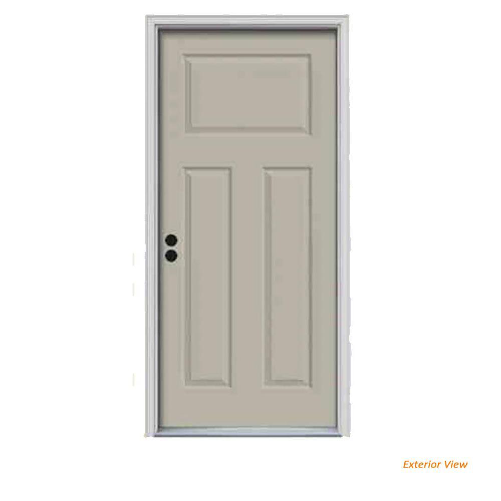 34 in. x 80 in. 3-Panel Craftsman Desert Sand Painted Steel Prehung Right-Hand Inswing Front Door w/Brickmould