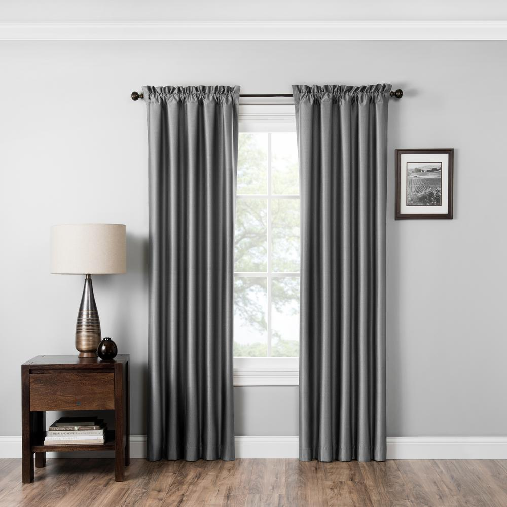 Blackout Miles 84 in. L Grey Rod Pocket Curtain