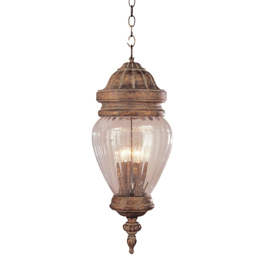 Bel Air Lighting 3-Light Antique Gold Outdoor Hanging Lantern