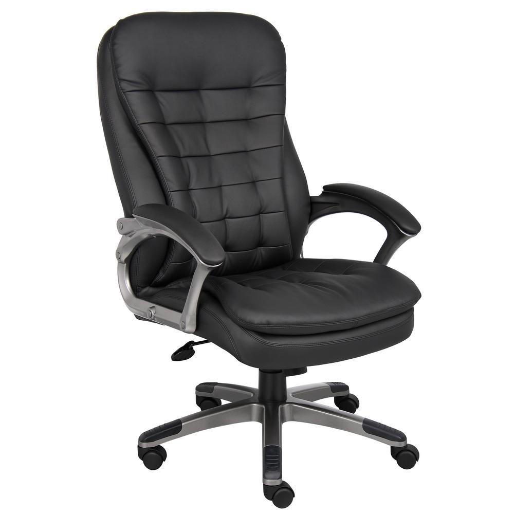 Black CaressoftPlus Pewter Finish Frame Executive High Back Pillow Cushion Design Chair