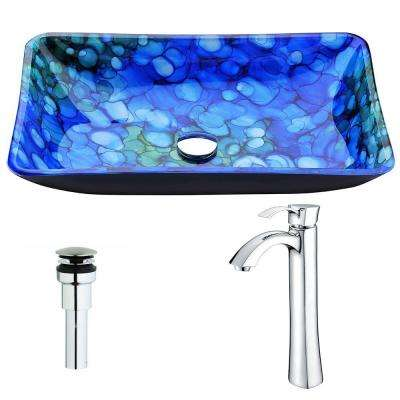 Voce Series Deco-Glass Vessel Sink in Lustrous Blue with Harmony Faucet in Chrome