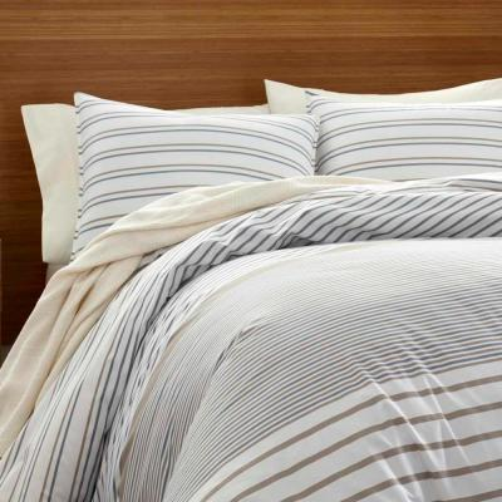 Cooper Beige Striped Duvet Cover Set
