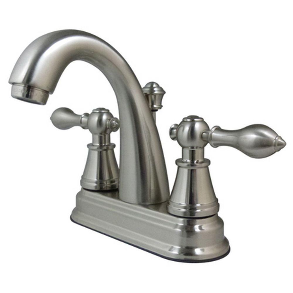 Kingston Brass Classic 4 In Centerset 2 Handle High Arc Bathroom Faucet In Satin Nickel