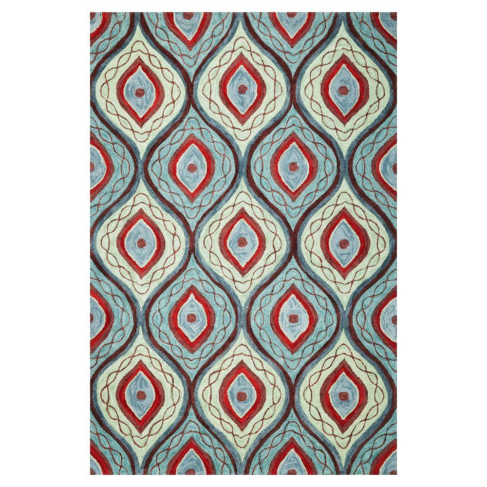 Kas Rugs Abstract Wave Teal/Lime 3 ft. 3 in. x 5 ft. 3 in. Area Rug