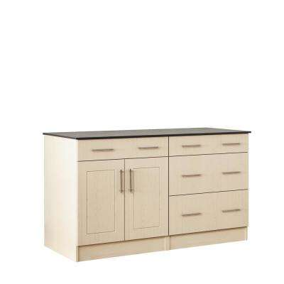 Palm Beach 59.5 in. Outdoor Cabinets with Countertop 2-Door and 2-Drawer in Sand