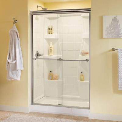 Lyndall 48 in. x 70 in. Semi-Frameless Traditional Sliding Shower Door in Nickel with Clear Glass
