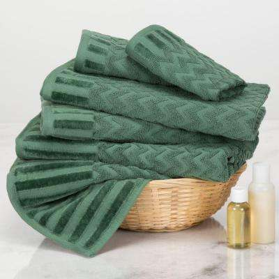 Chevron Egyptian Cotton Towel Set in Green (6-Piece)