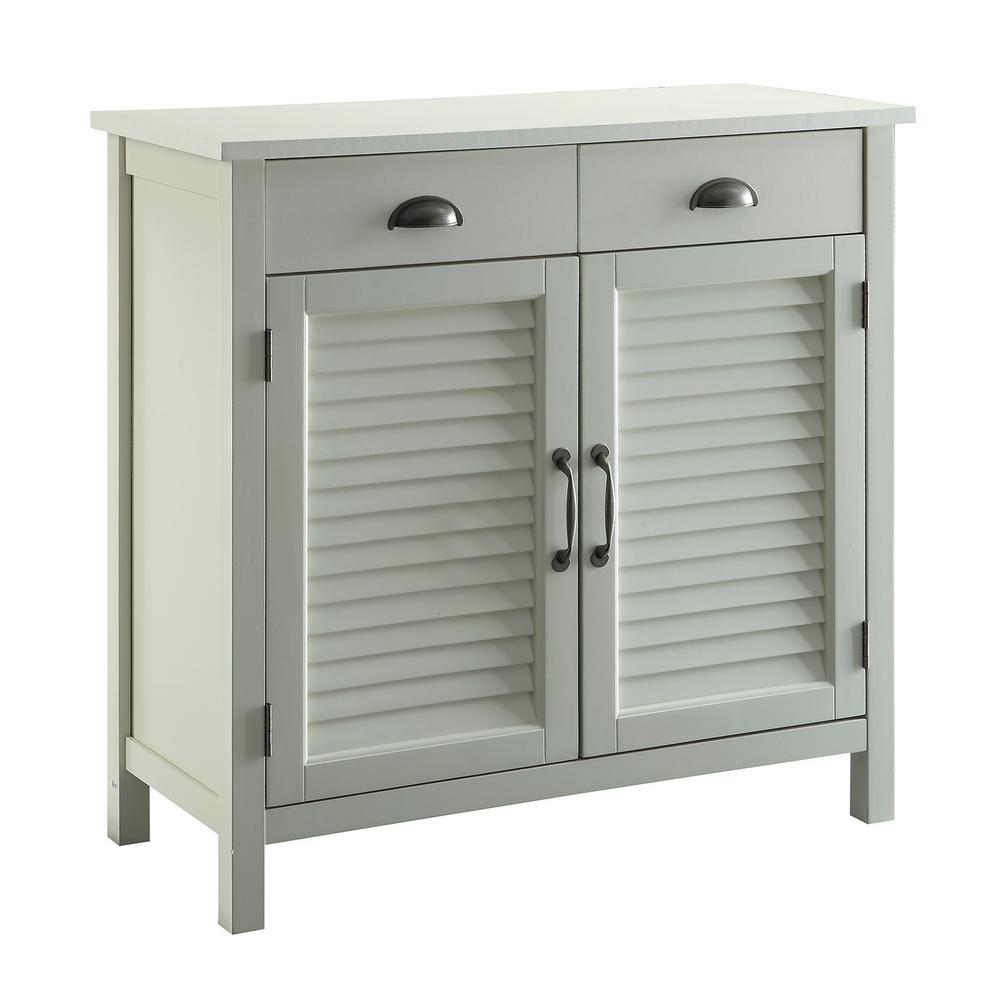Superbe Olivia White Accent Cabinet, 2 Shutter Doors And 2 Drawers
