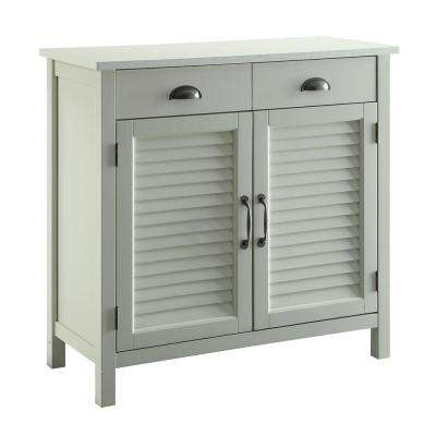 Olivia White Accent Cabinet, 2-Shutter Doors and 2-Drawers