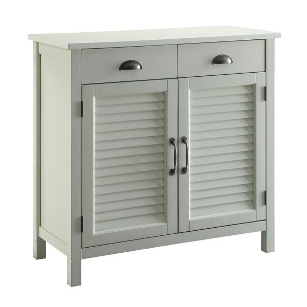 USL Olivia White Accent Cabinet, 2-Shutter Doors and 2-Drawers