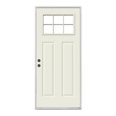 30 in. x 80 in. 6 Lite Craftsman Primed Steel Prehung  Right-Hand Inswing Prehung Front Door