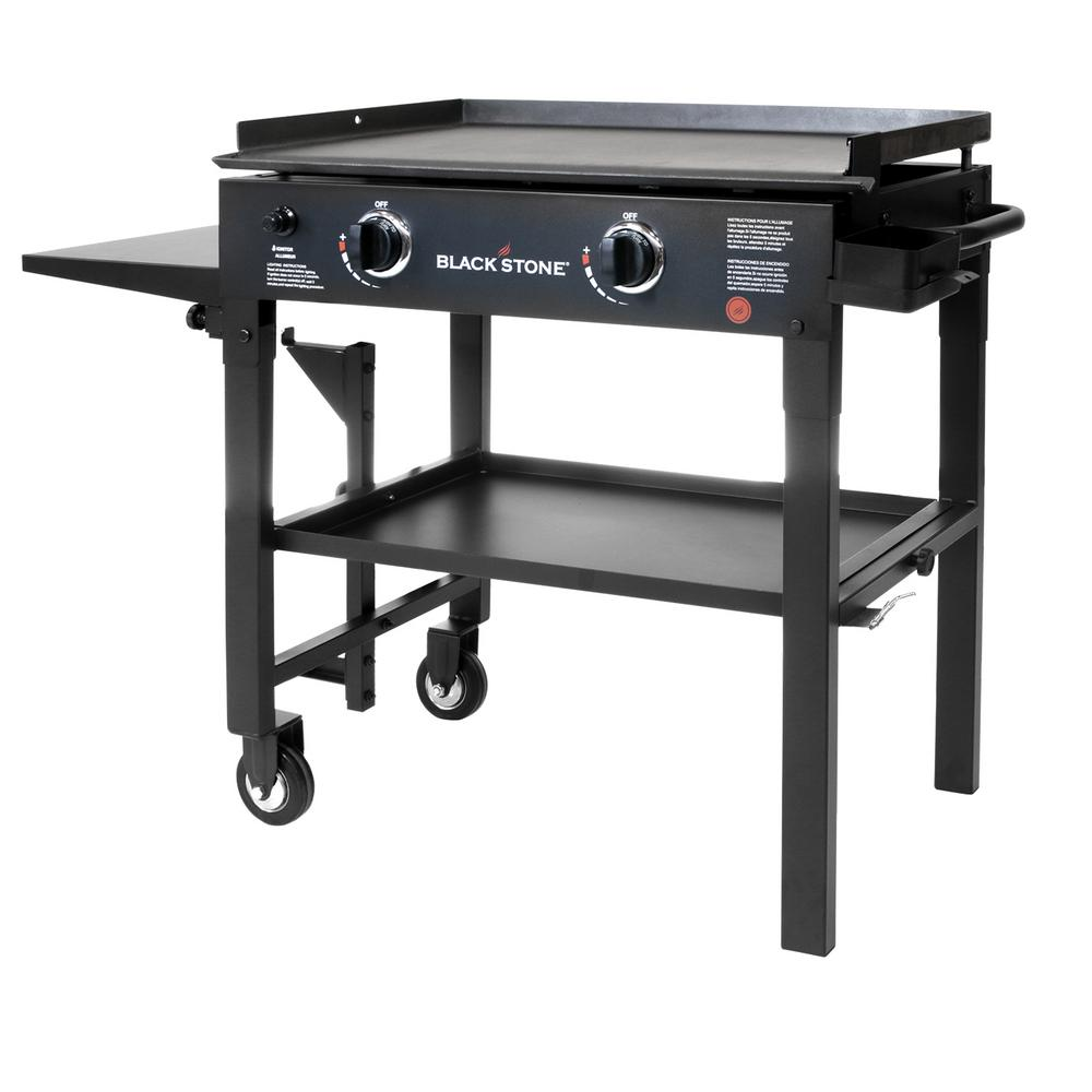 2 Burner Propane Gas Grill In Black With Griddle Top