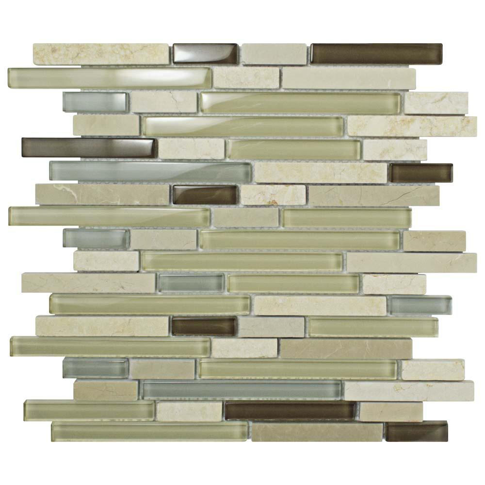 Merola Tile Tessera Piano York 11-5/8 in. x 11-3/4 in. x 8 mm Glass and Stone Mosaic Tile