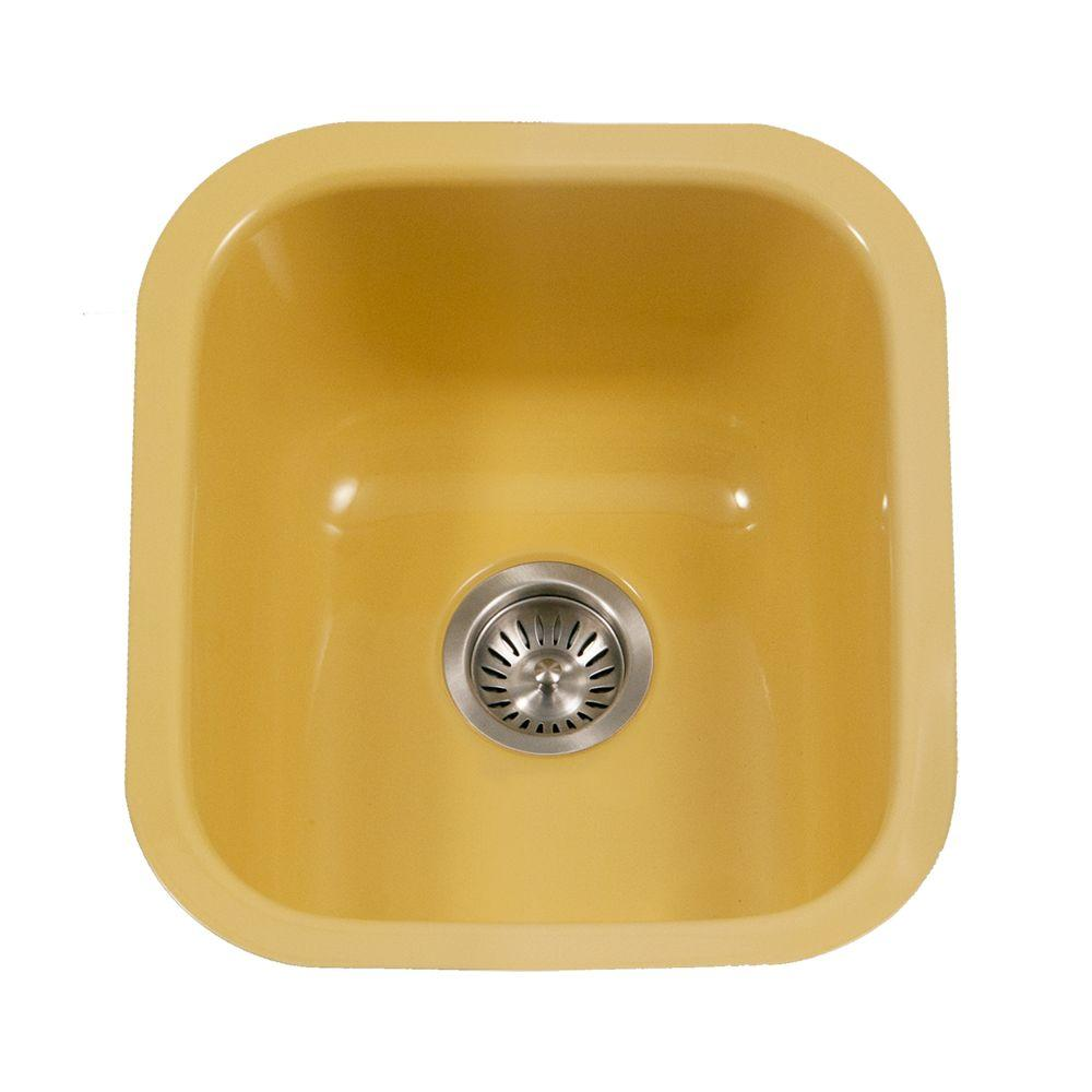 Houzer Porcela Series Undermount Porcelain Enamel Steel 16 In Single Bowl Kitchen Sink Lemon