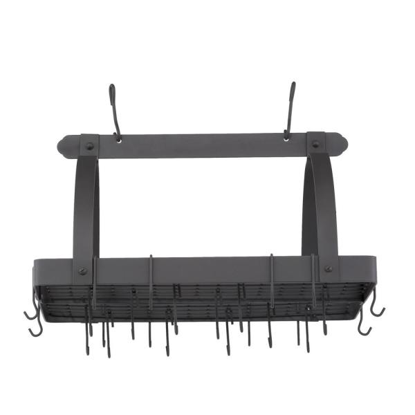 30 in. x 20.5 in. x 15.75 in. Graphite Pot Rack with Grid and 24 Hooks