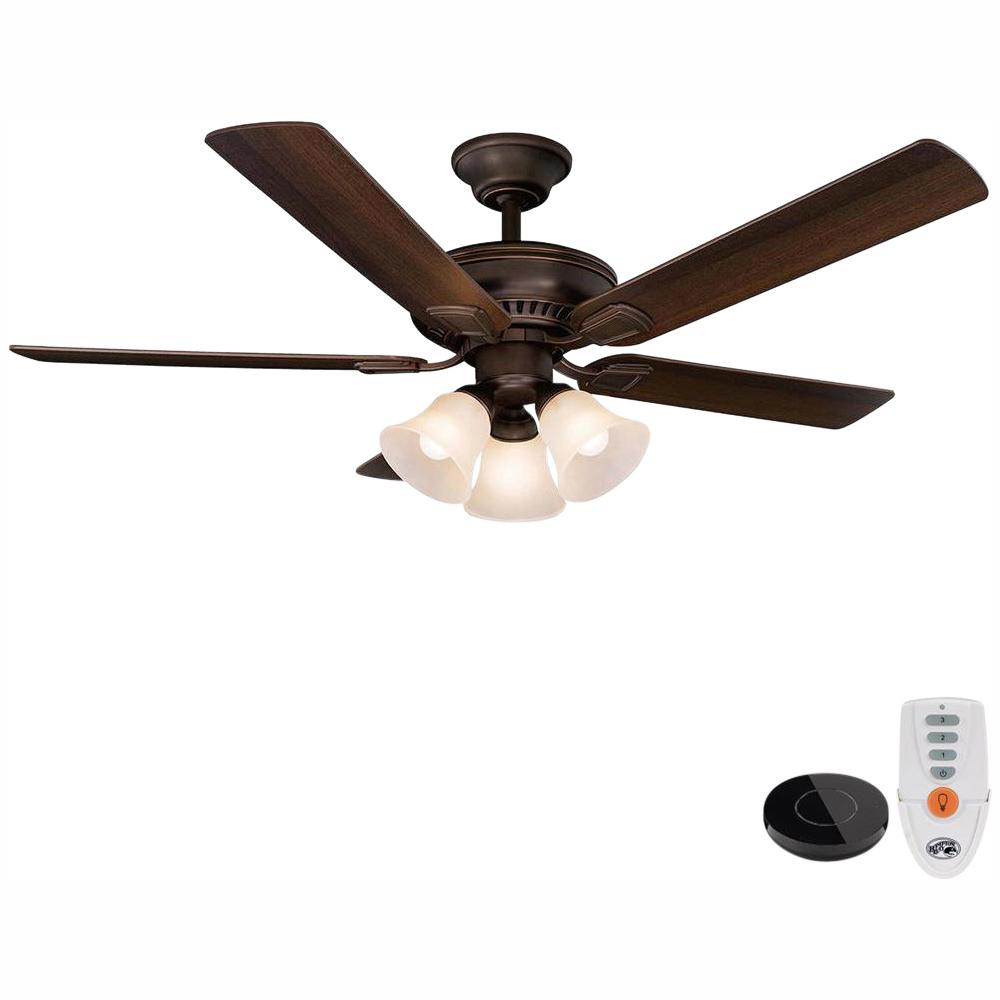 Hampton Bay Campbell 52 in. LED Mediterranean Bronze Ceiling Fan with Light Kit Works with Google Assistant and Alexa