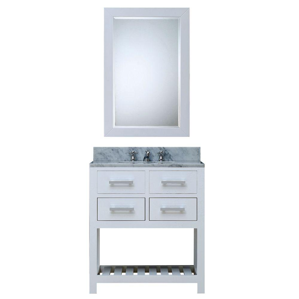 Water Creation 30 in. W x 21.5 in. D Vanity in White with Marble Vanity Top in Carrara White, Mirror and Chrome Faucet