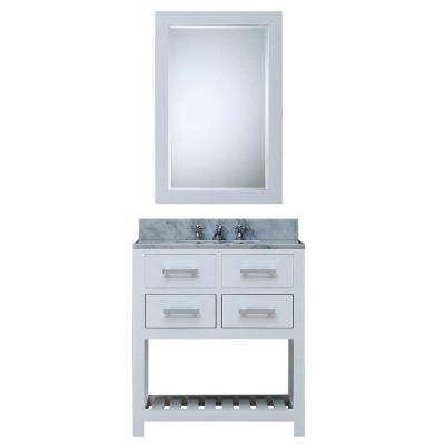30 in. W x 21.5 in. D Vanity in White with Marble Vanity Top in Carrara White, Mirror and Chrome Faucet