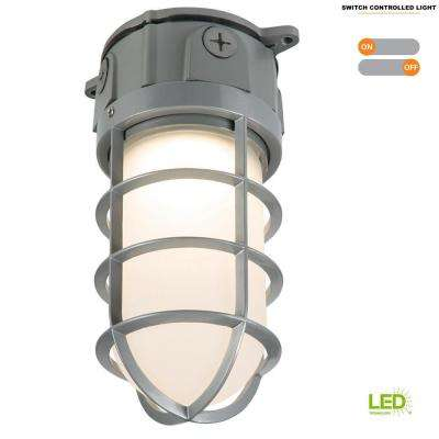 Gray Outdoor Integrated LED Vapor Tight Wall or Ceiling Mount Flood Light