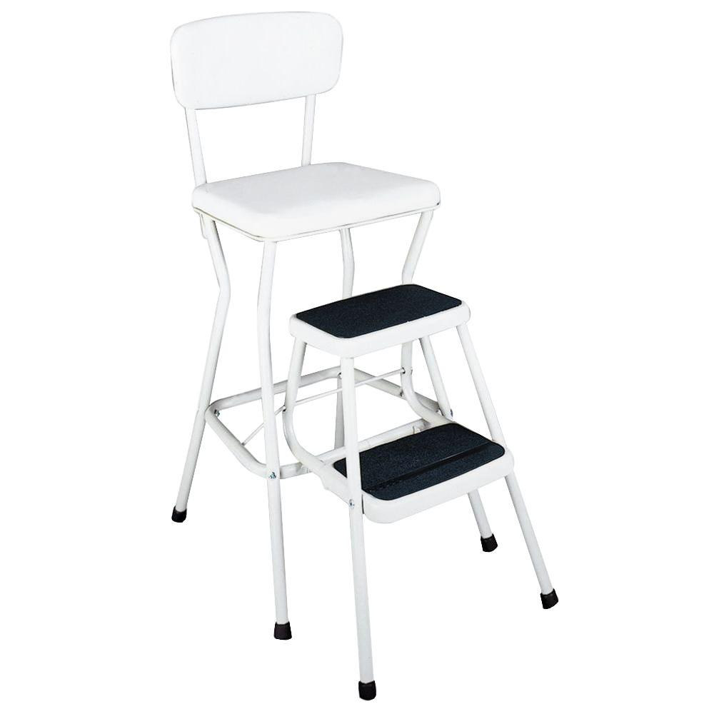 Cosco 2-Step Chair Steel Step Stool with Slide Out Steps 200 lb. Load Capacity