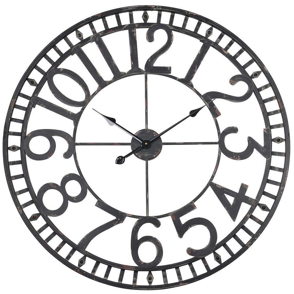 Manhattan Industrial Wall Clock, Analog, Black, 32''