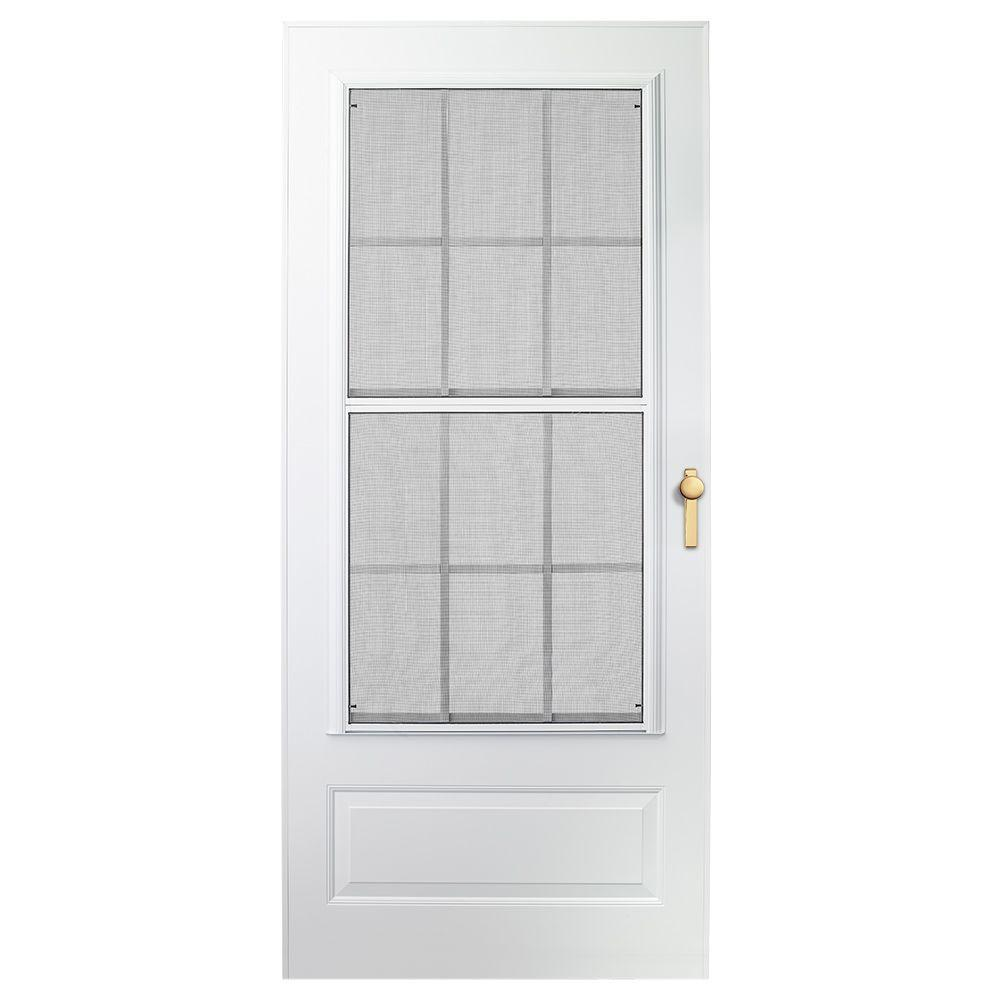 EMCO 32 in. x 80 in. 300 Series White Universal Colonial Triple-Track Aluminum Storm Door with Brass Hardware