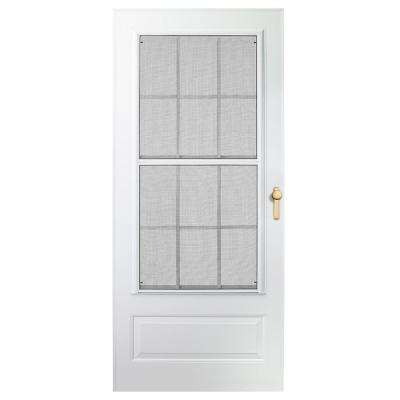32 in. x 80 in. 300 Series White Universal Colonial Triple-Track Aluminum Storm Door with Brass Hardware
