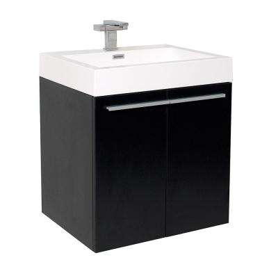 Alto 23 in. Bath Vanity in Black with Acrylic Vanity Top in White with White Basin