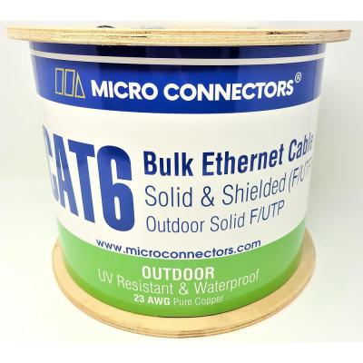 500 ft. 23 AWG/Conductors Solid CAT 6 STP Outdoor Bulk Ethernet Cable in Black