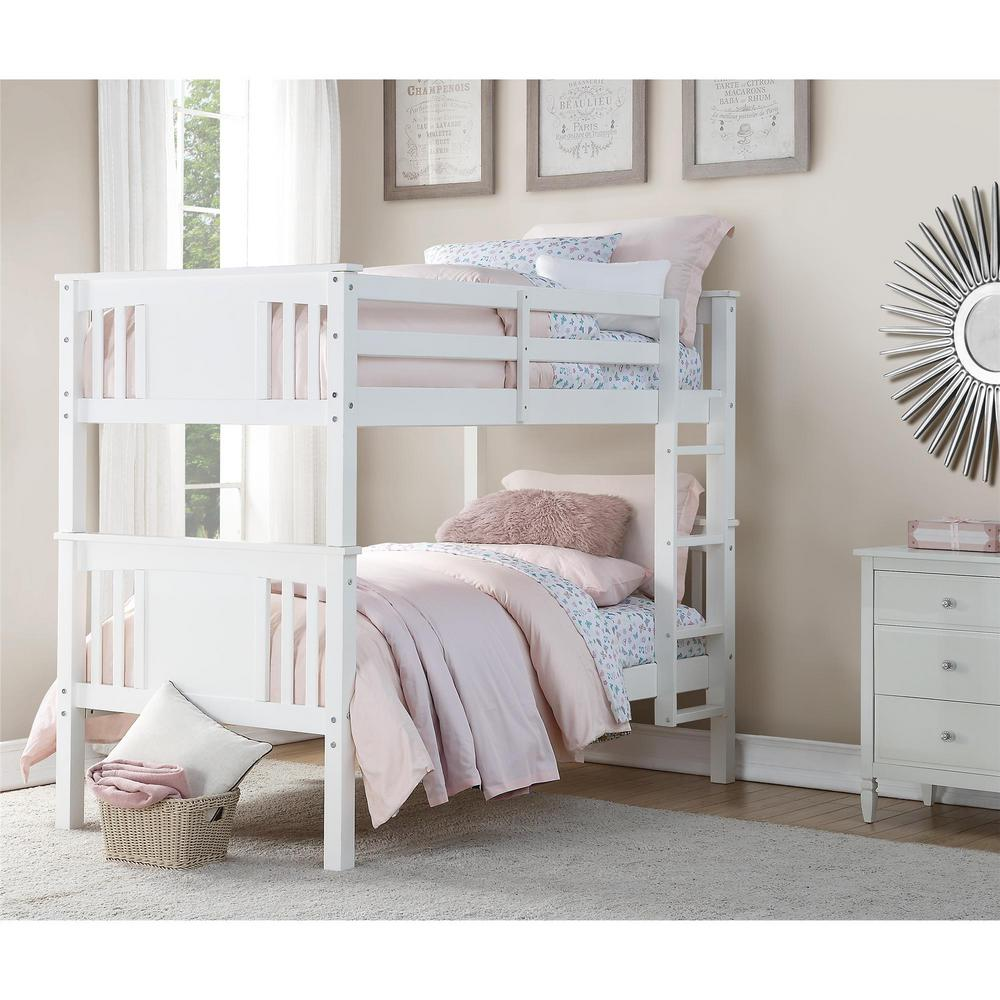 Dorel Living Dylan White Twin Bunk Bed