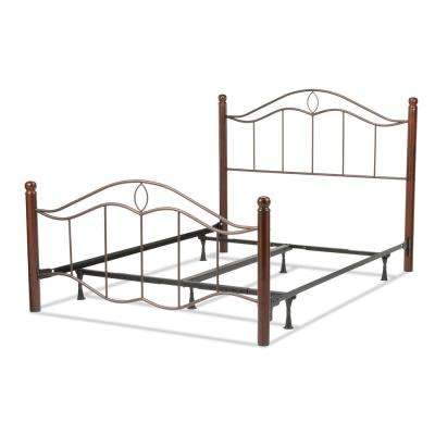 Cassidy Mink Queen Complete Bed with Metal Duo Panels and Dark Walnut Wood Posts