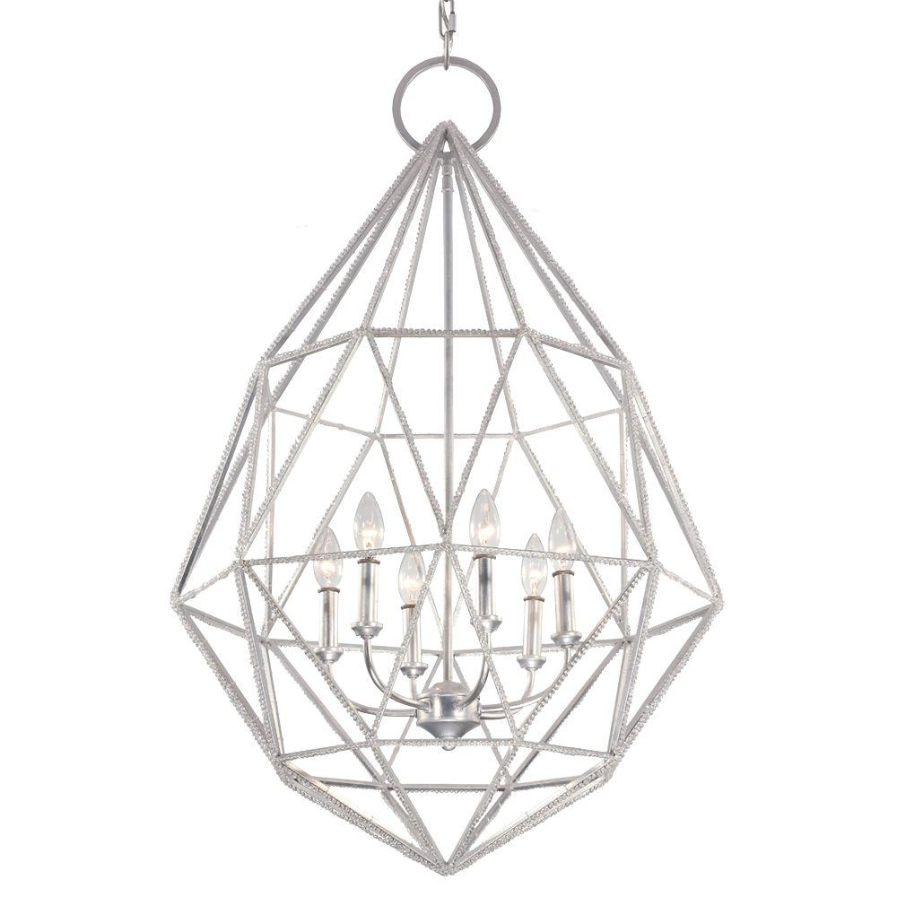Feiss Marquise 6-Light Silver Large Pendant
