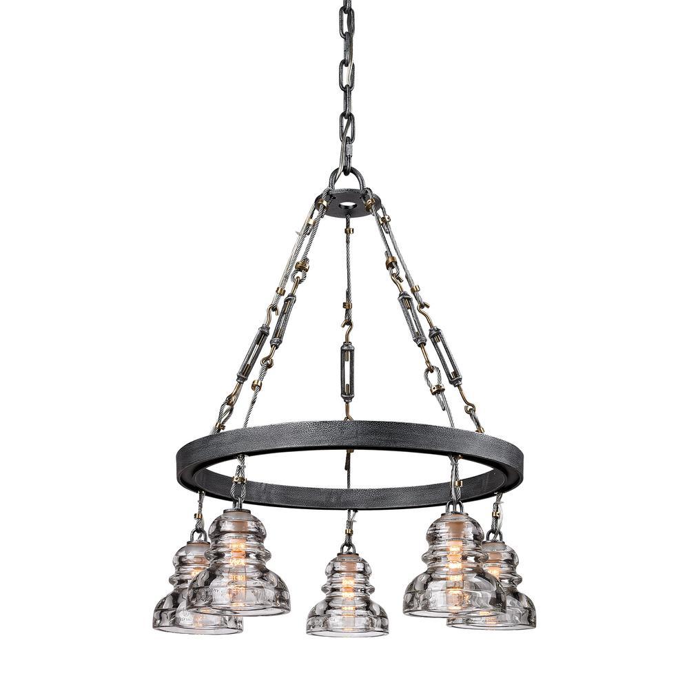 Troy lighting menlo park 5 light old silver pendant f3135 the home troy lighting menlo park 5 light old silver pendant arubaitofo Images