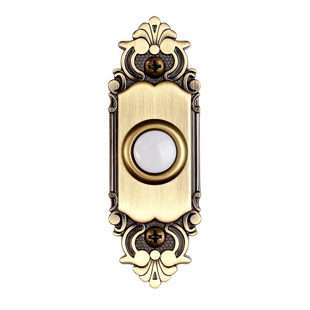 Hampton Bay Wired Lighted Door Bell Push Button, Antique Brass - Hampton Bay Wired Lighted Door Bell Push Button, Antique Brass-HB